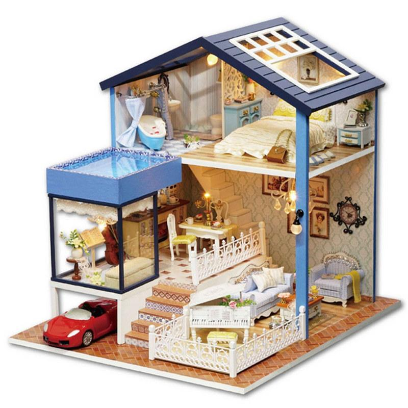 New Kiwarm Fashion Wooden Assembled Cottage Dollhouse Miniature With  Furniture Led Light Home Room Set Gift Diy Ornament Small Wooden Doll House  Madeline ...