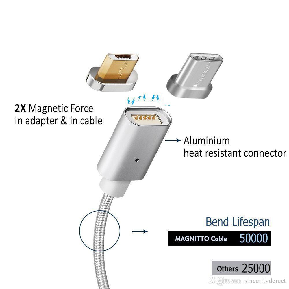 Manyetik Tip-C Mikro USB LED Hızlı Şarj Kablosu Samsung Data Sync Şarj Data Sync Şarj Adaptörü Sony Android