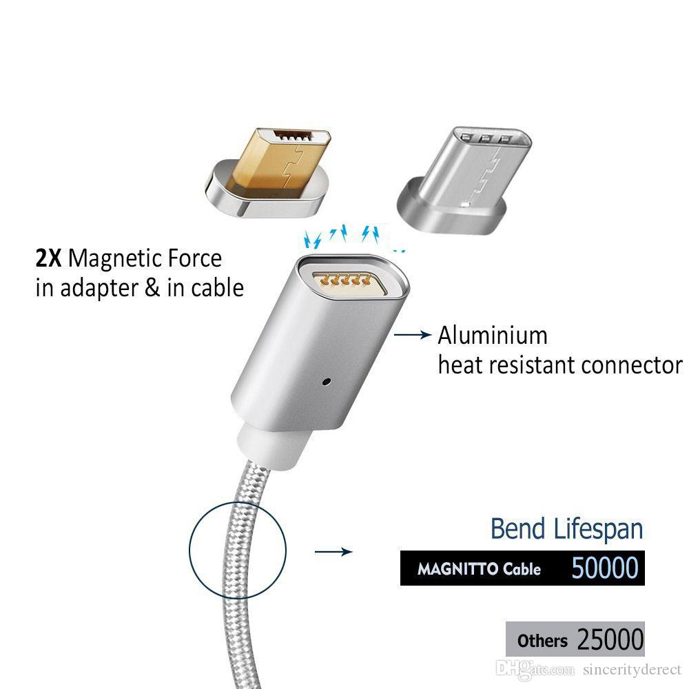 Type de C magnétique Micro USB LED Chargeur de charge rapide Câble Câble Sync Chargeur de données Adaptateur pour Samsung Sony Android