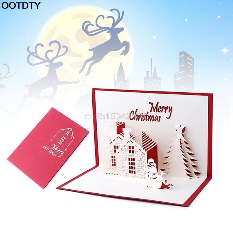 Christmas Greeting Cards Snowman Handmade 3D Pop Up Holiday Greeting ...