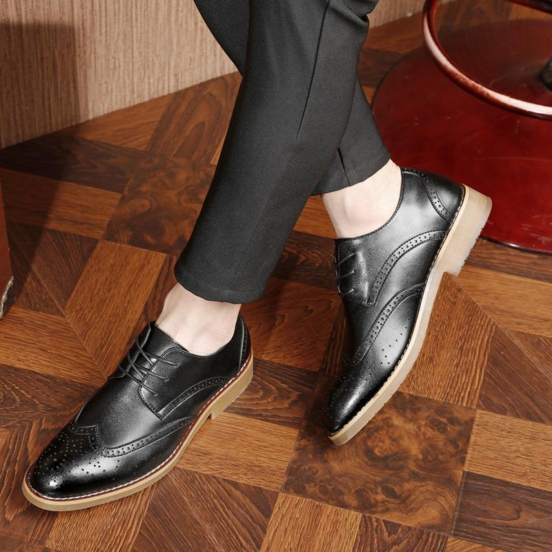 Men's Shoes Mens Leather Shoes Mens Leather Summer 2018 New Mens Business Dress Korean Style Casual Black Leather Shoes Special Buy Formal Shoes