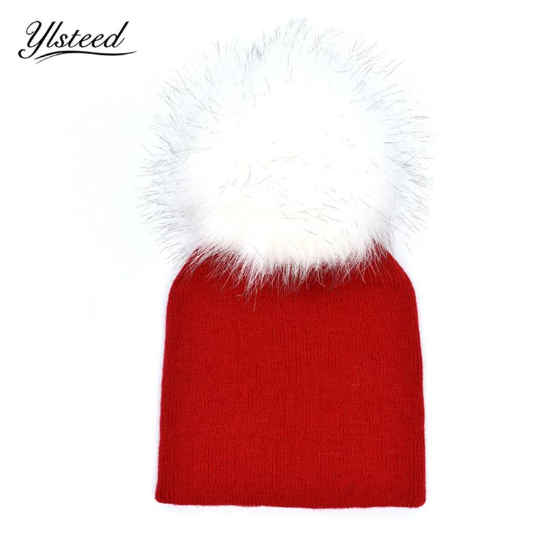 2019 1 5 Years Old Baby Faux Fur Pom Pom Beanies Knied Winter Warm Hat Baby  Boys Girls Bonnet Toddler Kids Caps Infant Photo Props From Babymom d82e0d76885d