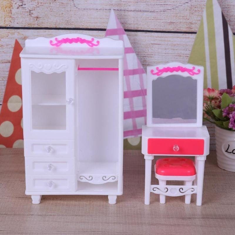 Miniature Plastic Bedroom Furniture Toys Set Girl Kids Play House Dollhouse  Bedroom Furniture Doll Accessories
