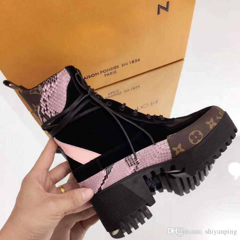 d3e6c959883 2018 New Arrival Luxury Designer Boots Women Desert Boot Chunky Heel Martin  Shoes Print Leather Platform Desert Lace Up Boot 5cm Black Ankle Boots Wedge  ...
