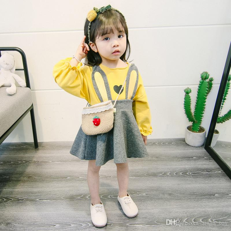 2018 New Design Hot Sale Girls Spring Autumn Rabbit Ear Dresses Set Baby Girl Outfit Cute Suspender Skirt +T-shirt