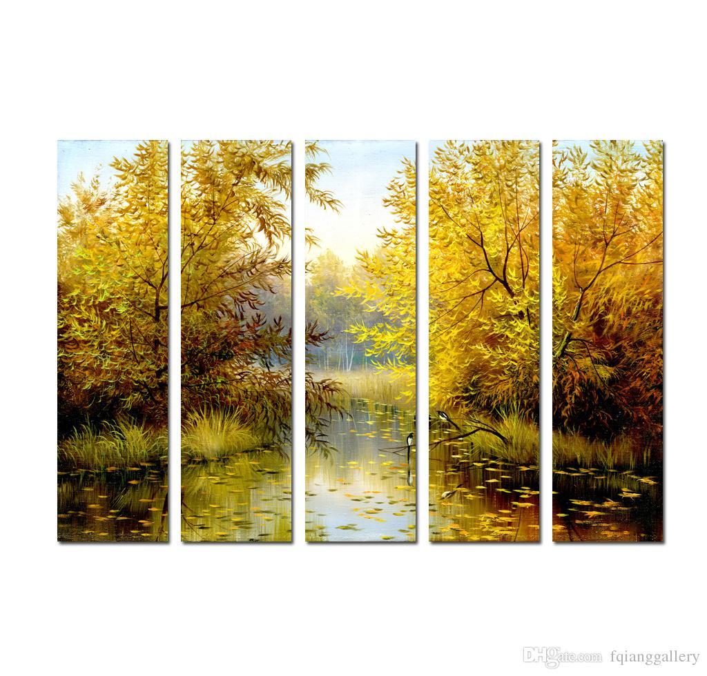 Large 5 Panel Quality Print on Canvas Wall Art Beautiful Landscape ...