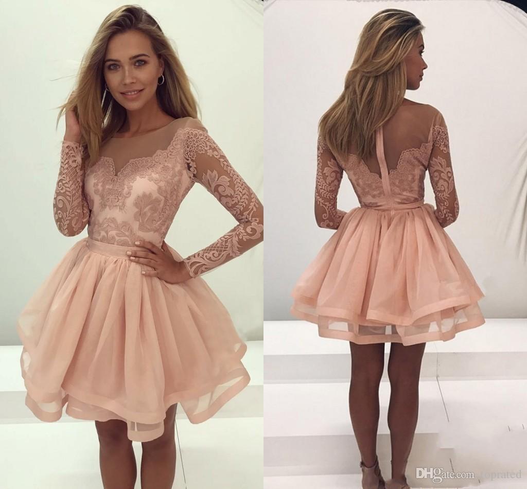 2af0ecb1681 2018 Newest Elegant Long Sleeve Mini Short Homecoming Dresses Organza Sweet  16 Graduation Dresses Zipper Prom Party Dresses Sequin Dresses Cheap Sexy  Classy ...