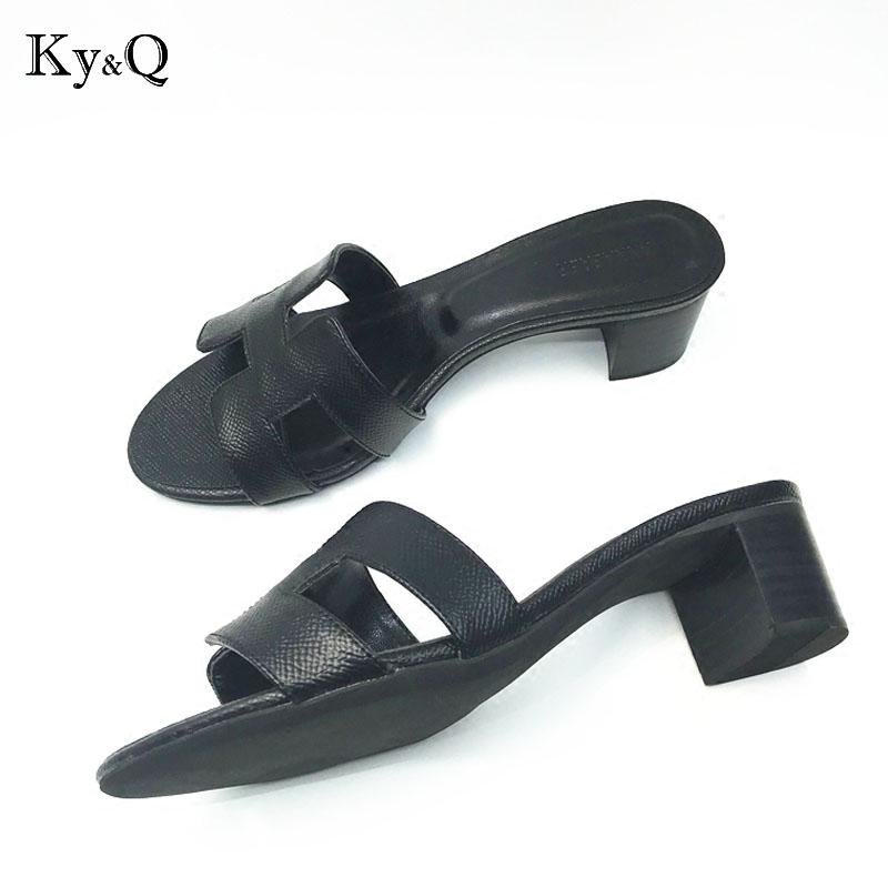 7c2145ac3860d1 Brands New Thick Heels Slippers Cut Out Summer Beach Sandals Fashion Women  Slides Outdoor Indoor Slip Ons Flip Flops Womens Ankle Boots Ladies Slippers  From ...