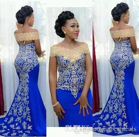 Elegante Lange Abendkleider 2018 Meerjungfrau Schulterfrei mit Goldstickerei Bodenlangen Afrikanische Frauen Blau Formale Prom Abendkleider