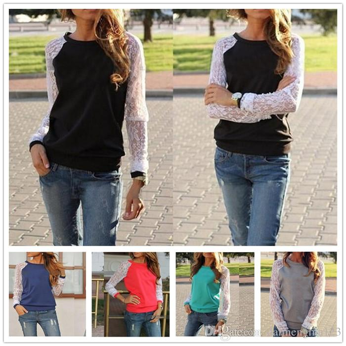 Women Shirt Autumn Long Sleeve Patchwork Lace Sexy Top Black Plus Size Party Shirts Womens Lady Clothing M237