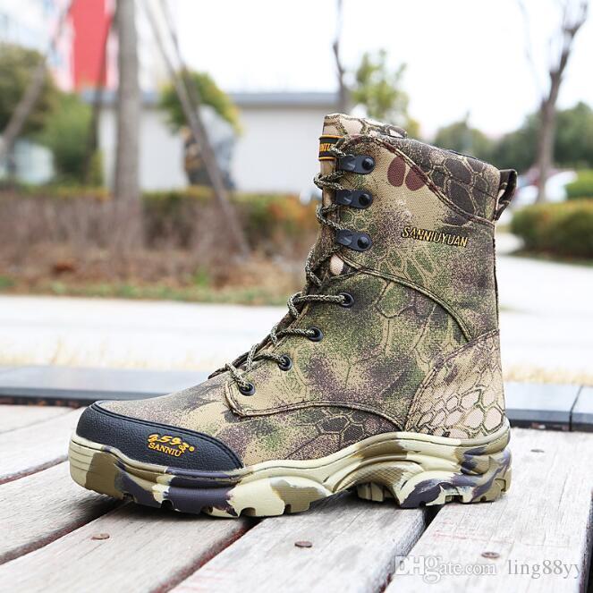 Acquista Stivali Da Uomo In Pelle Di Pitone Scarpe Militari Combattimento Di  Stivaletti Tattici Uomini Desert   Jungle Boots Scarpe Da Esterno  Spedizione ... 7407c85c697