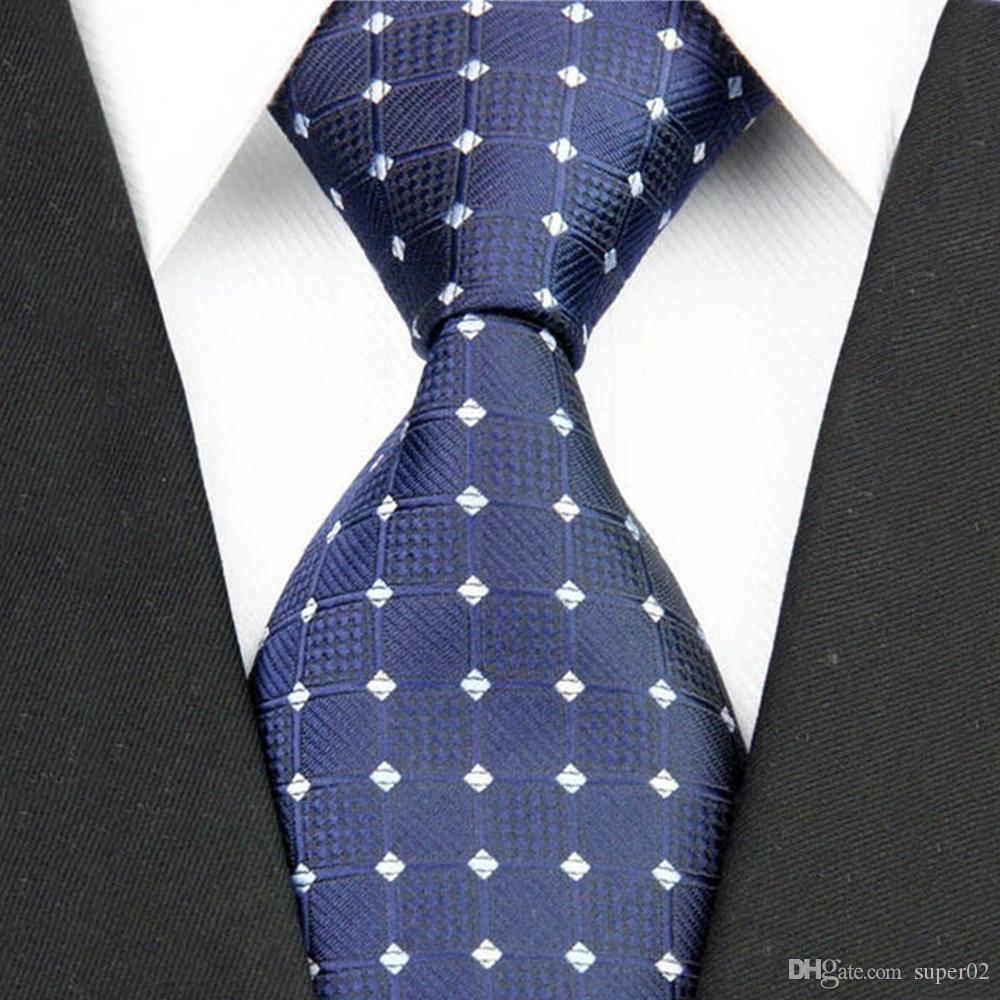 09f00783f78d Fashion Mens Accessories Check Pattern Business Silk Tie Geometric Jacquard  Woven Necktie for Men 3 Online with $0.99/Piece on Super02's Store    DHgate.com