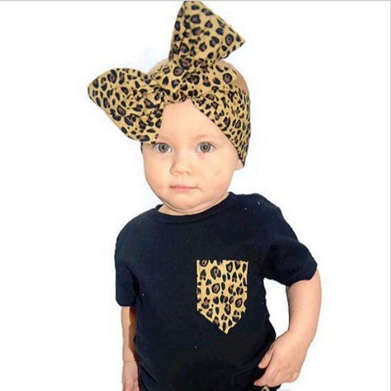 Fashion Baby Leopard Headband Kids Girl Big Bowknot Knitted Cotton Hairband Children Bow Elastic Bunny Ear Headwear