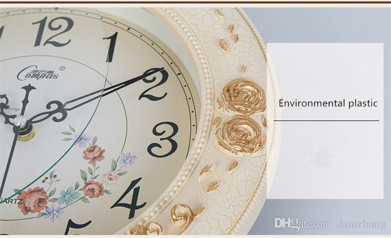 20inch European retro swing wall clock Silent movement Independent swinger Quartz clock Spray paint Plastics Glass 63x32cm