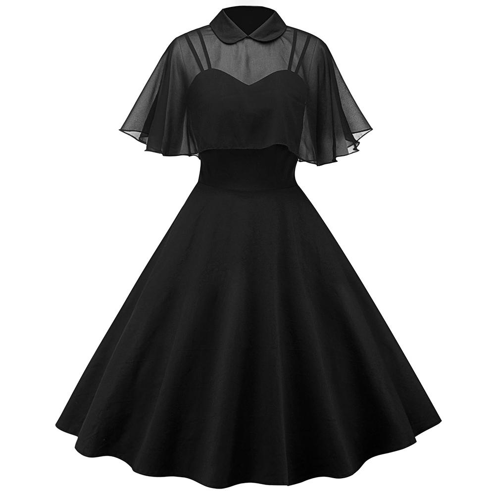 2018 Vintage Mesh Cape Dress Pin Up Turn Down Collar Women Black A Line Dresses Cloak Sleeve Casual Summer Vestido