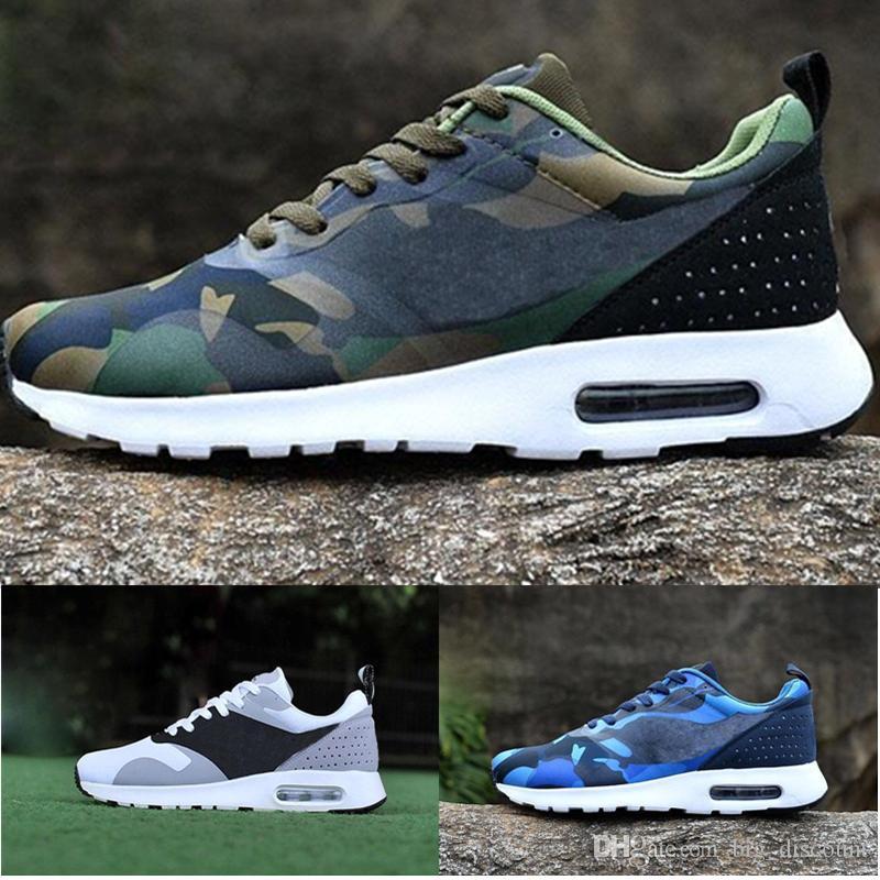 more photos e69a0 8ade7 Acheter Nike Air Max 87 Airmax 87 87 Tavas 90 Camouflage Hommes Thea  Chaussures Décontractées 100% Noir Thea Chaussure Respirante 2017 Taille 36  45 ...