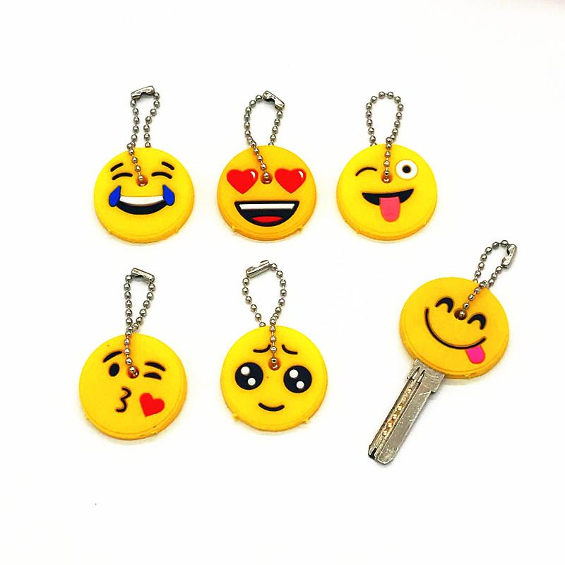 Cute Cartoon Emoji Smile Cry PVC Keychains For Women Car Key Ring Key Cover  Caps Holder Kids Party Gift Key Ring Keyring From Dujuanflower 2a5b994a5