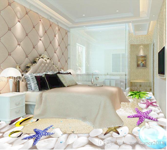 Водонепроницаемые обои ПВХ Shell пляжный пол декоративная роспись ПВХ обои для пола