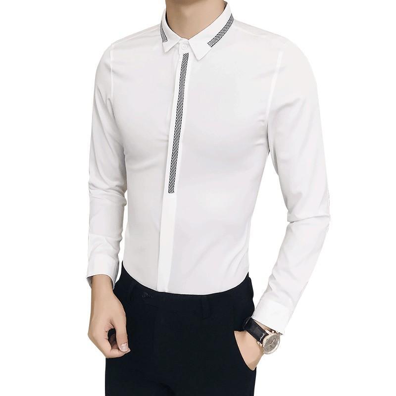 Marca Camisas Club Vestir Camisa Larga Más Diseñador La Manga Prom Blanca Informales Night Smoking Tamaño Slim 2018 Nueva Hombres De Fit xBQroedWC