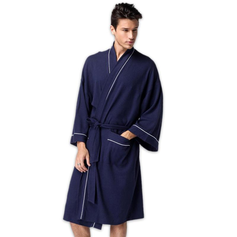 bf41b50b0b 2019 Unisex Waffle Cotton Bathrobes Simple Hotels SPA Robes For Male Pure  Color Couples Sauna Kimono Mens Homme Robe Plus Size From Sweatcloth