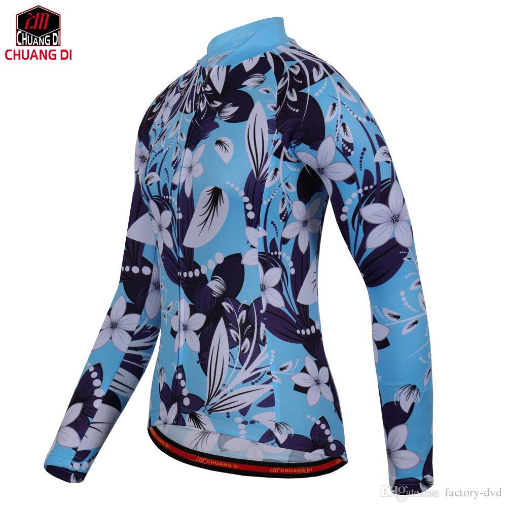 212dfde87 Women Cycling Jerseys Long Sleeve Team Maillot MTB Downhill Bicycle ...