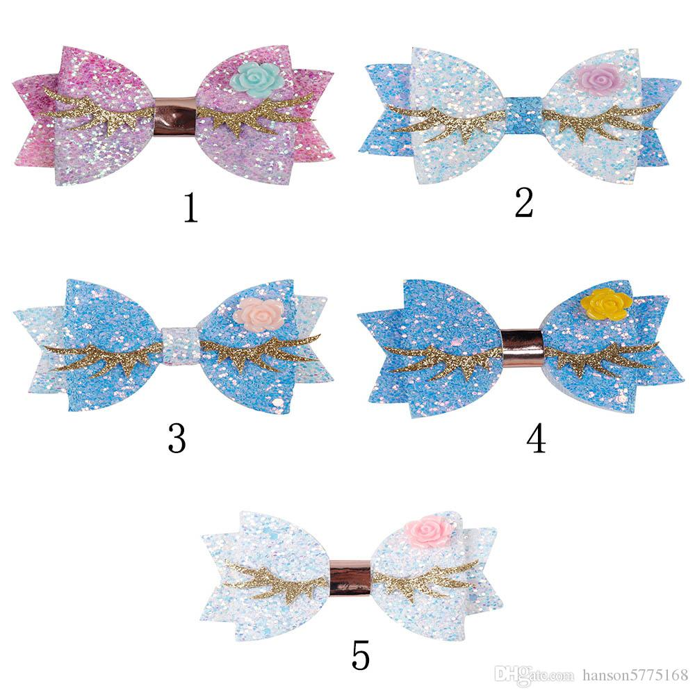 3 Inch Cute Chunky Glitter Hair Bows for Girls Flower Horn Horse Hair Clip Kids Boutique Hairgrips Headwear Hair Accessories