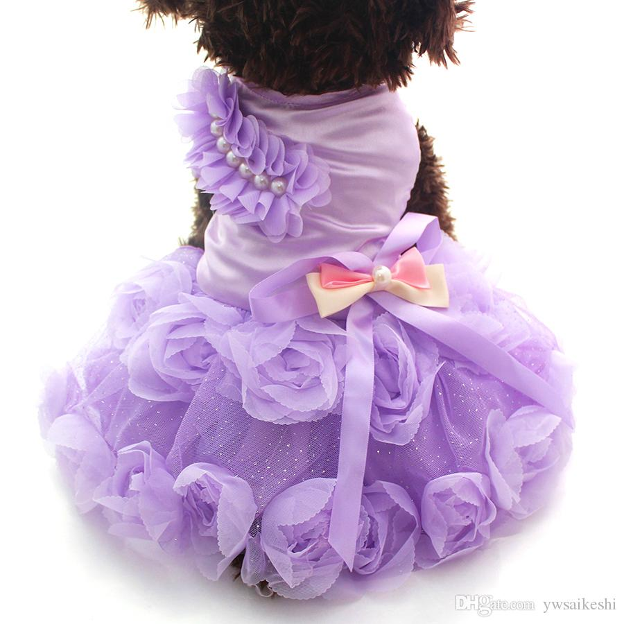 Small Dog Cat Princess Dress Shirt Rosette&Bow Design Puppy Dresses Skirt Spring/Summer Outfit Clothes Apparel 2 Colours 6 sizes