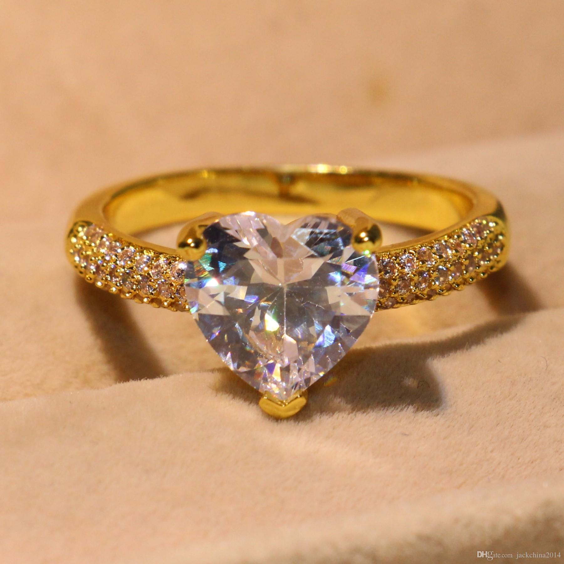 2018 nuovo arrivo promessa anello le donne scintillanti gioielli in argento sterling 925 oro giallo riempito bianco topazio cz cuore femminile banda regalo anello