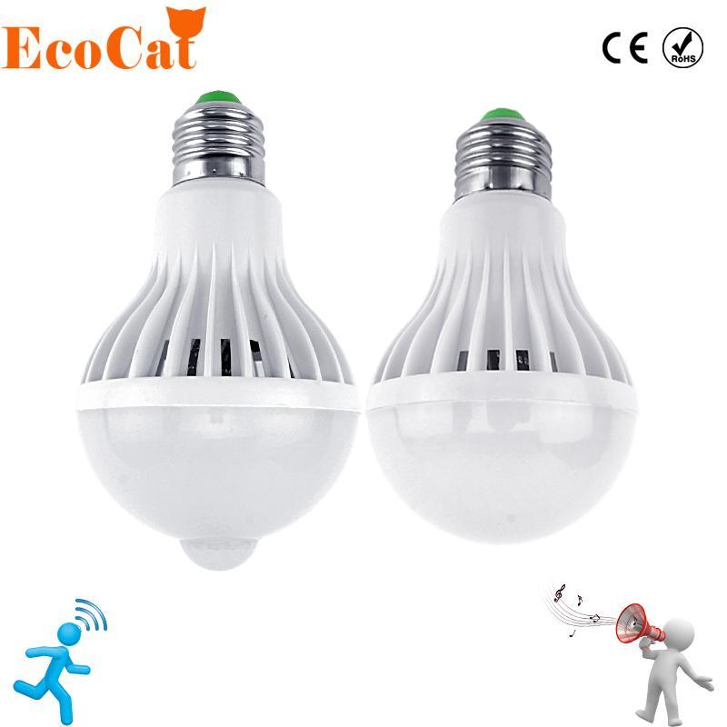 2018 LED Bulb Motion Sensor 220V E27 Light 3W 5W 7W 9W 12W Sound+Light Auto  Smart Infrared Body Lamp