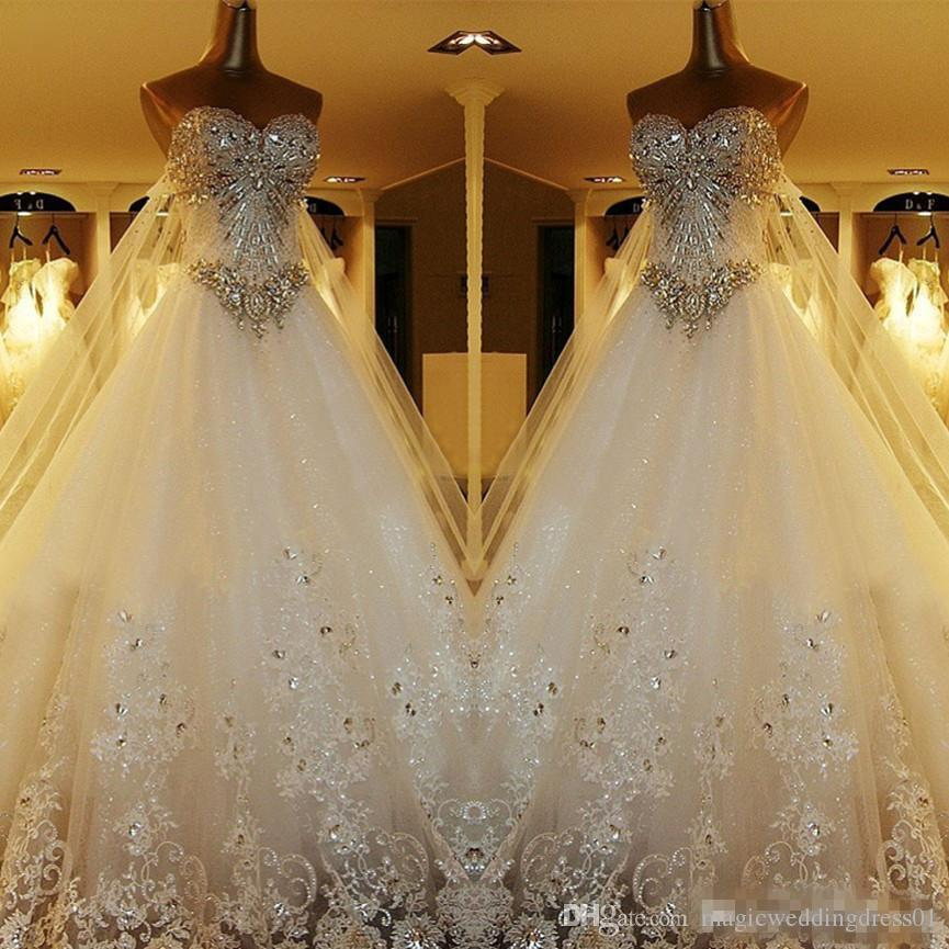 Most Beautiful Ball Gown Wedding Dresses: Discount Luxury Crystal Cathedral Train Ball Gown Wedding