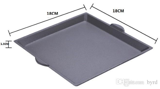 bbq in alluminio portatile Griglie con piastra in alluminio antiaderente stufa piazza Holtel domestico commerciale singole coppie amanti 15.5 * 15.5cm