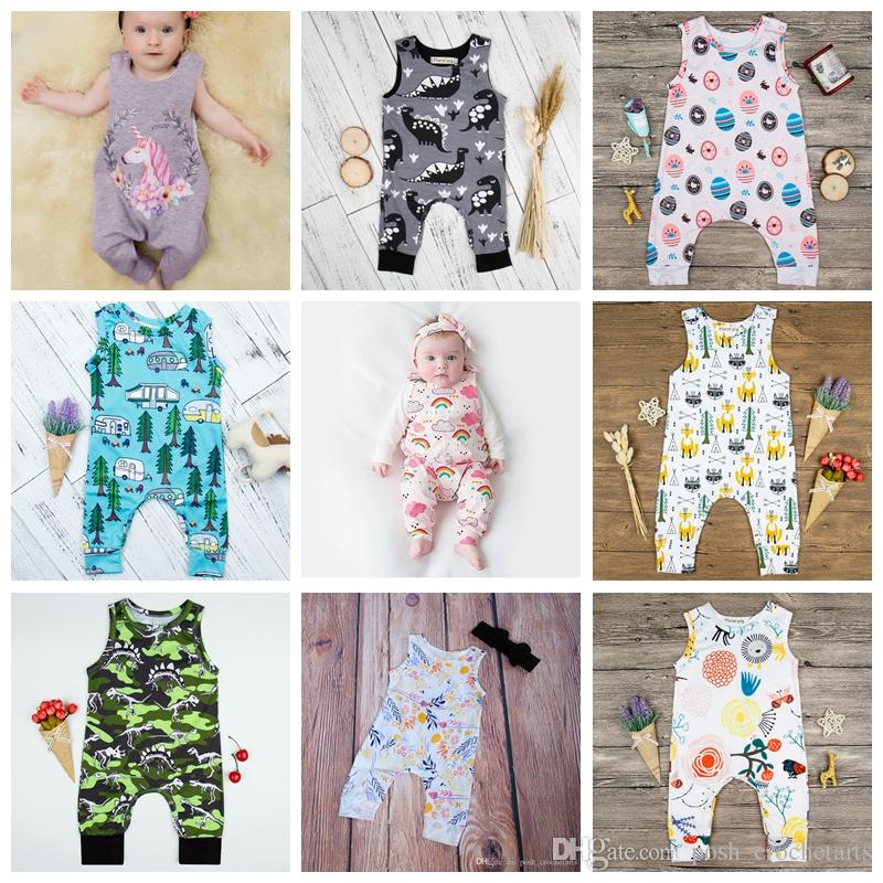 d9136ae99aaf 2019 Boho Harem Rompers For Baby Boys And Girls Unicorn Harem Jumpsuits  Dinosaur Prints Cactus Romper Fox Infants Clothes 3 18M From  Posh crochetarts