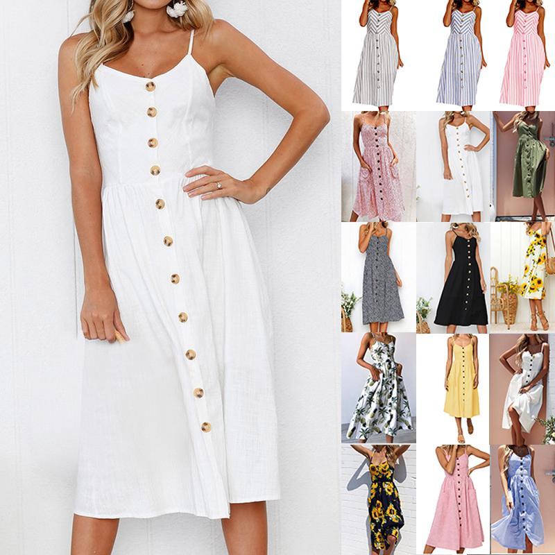 3217bef32547 Acquista 28 Style Sexy Spaghetti Strap Button Abiti 2018 Bohemian Floral  Tunica Beach Dress Vestito Estivo A Righe Bianco Pocket Dress A  37.17 Dal  Honey111 ...