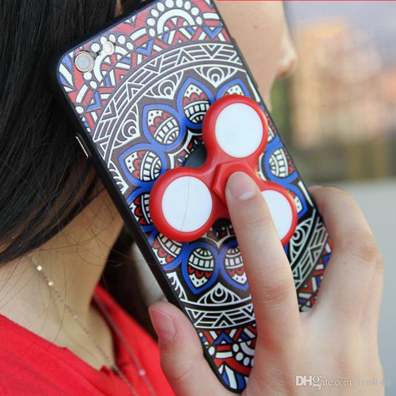 New Arrival Hand Spinner Case Led Fidget Spinner Phone Case Cover for iPhone 7 Plus 6s Plus Samsung S8 with retail package