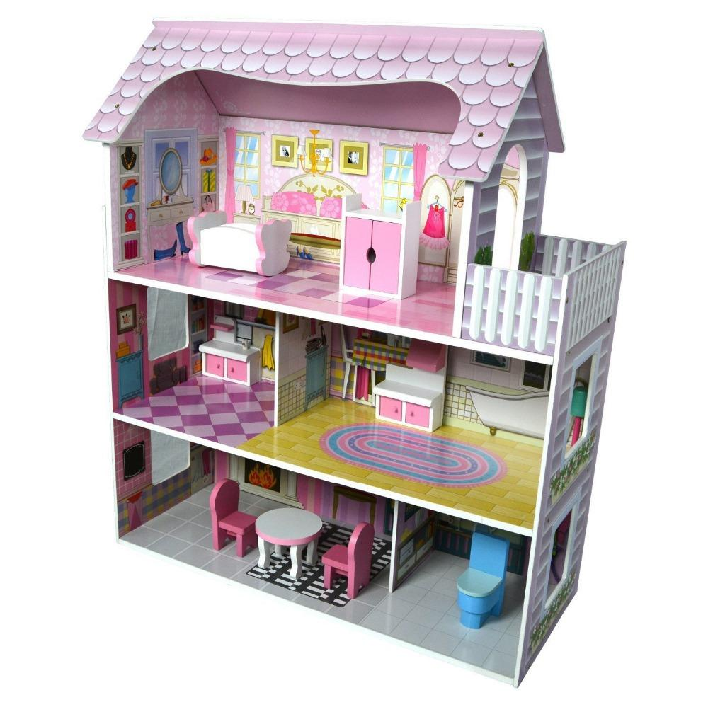 Big Size Pretend Play Furniture Toys Wooden Dollhouse Furniture Miniature Toy Set Doll House For Children Kids Toy Pink House