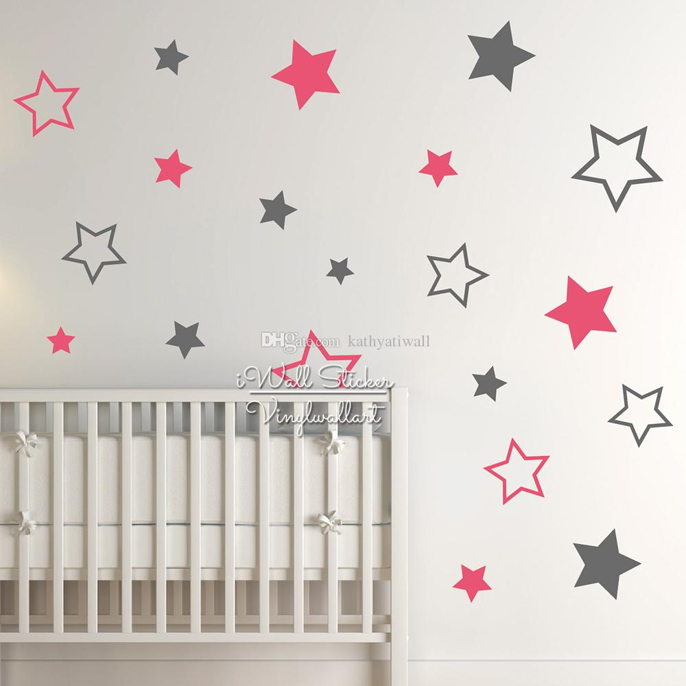 Baby Nursery Stars Wall Sticker Star Wall Decal Children Room Decor Kids Room Removable Baby Wallpaper High Quality Cut Vinyl Material N22