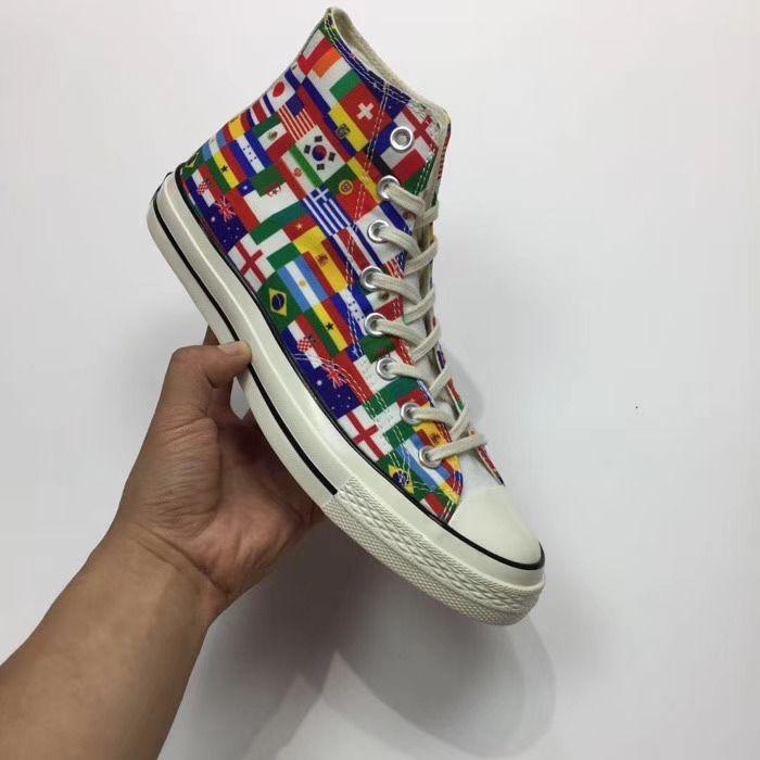 2018 original box World Cup Men's women's canvas shoes low top skates, flag fashion casual canvas shoes size 35-44