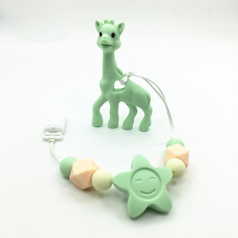Silikon diş çıkarma Zürafa Diş Kaşıyıcı Klip, bebek diş kaşıyıcınız emzik zürafa klip. Silikon diş çıkarma emzik kolye Asılı Oyuncak