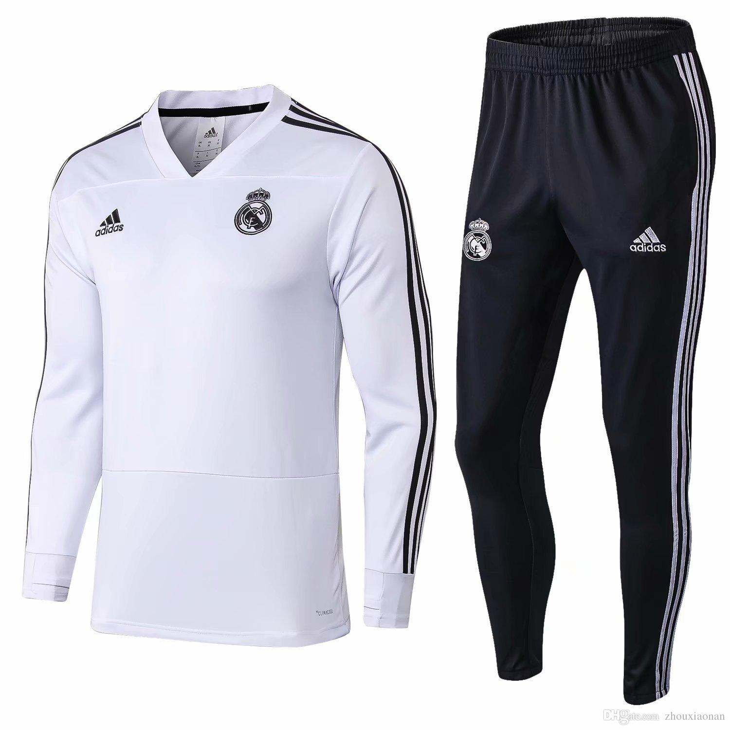 a4e2c717591f8 2019 AAA+ 2018 2019 Real Madrid Tracksuit Men S Soccer Chandal Football  Tracksuit 18 19 Adult Training Suit Skinny Pants Sportswear From Honglin3