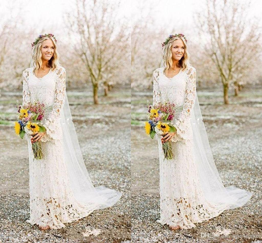 8574fcf703bf 2018 Romantic Boho Wedding Dresses Long Sleeve Neck A Line Full Lace  Country Style Bridal Gown Custom Made Ivory Wedding Dresses Muslim Wedding  Dresses From ...