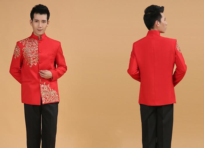 718f529c7d6e Acquista Abiti Da Sposa Cinesi Uomo Rosso Costume Tunica Maniche Lunghe  Abiti Tradizionali Cinesi Male Folk Top 18 A  64.61 Dal Hongxigua