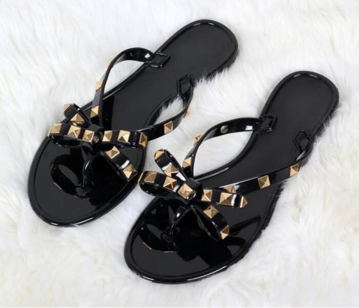 bc9d869ba45a Women Rivets Bowknot Flat Slippers Girls Flip Flops Summer Shoes Cool Beach  Jelly Shoes Dropshipping Dropshipping Espadrilles Birkenstock Sandals From  ...