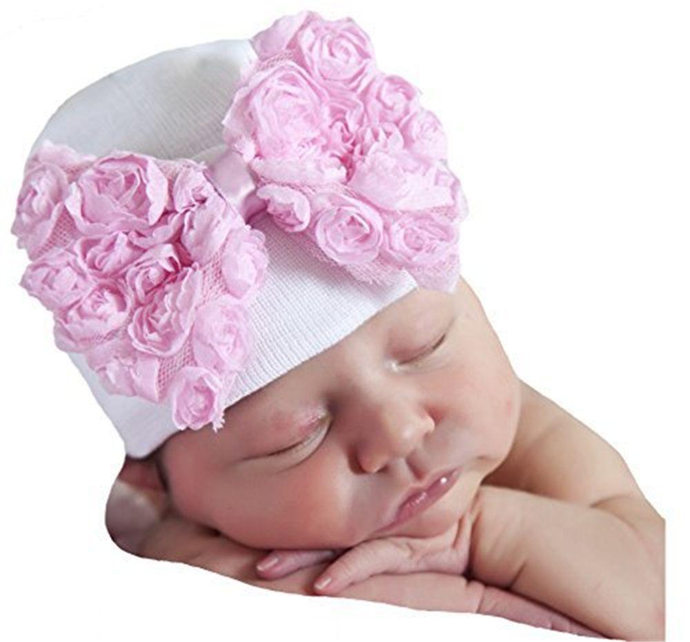 73a59f7f327cf3 2019 Baby Girl Boy Big Bowknot Knit Caps Warm Winter Autumn Newborn Striped  Handmade Cap Unisex Cotton Soft Cute Bow Hats Accessories From Yohkoh, ...