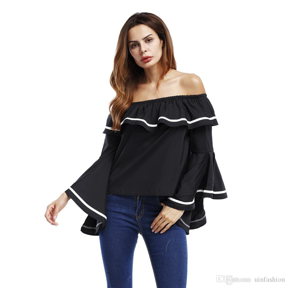 47ebf55163f08a Elegant Ruffles Shirt Women White Black Backless Blouses Off Shoulder Top Slash  Neck Loose Bell Sleeve Casual Tops As T Shirt Online T Shirts Buy From ...