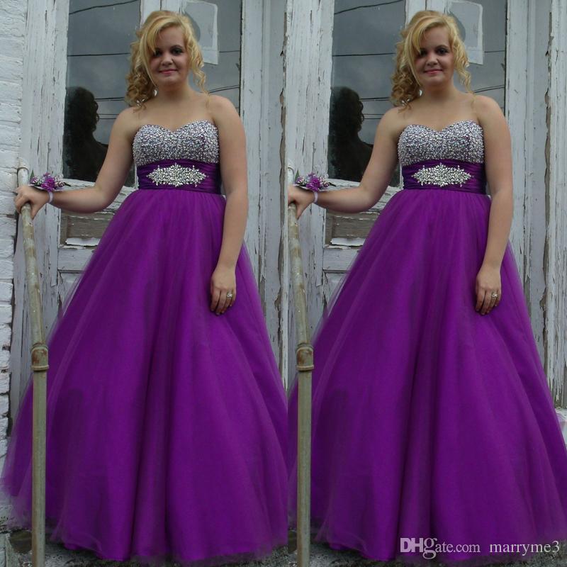 Purple Plus Size Prom Dresses A Line Heavily Beaded Sweetheart ...