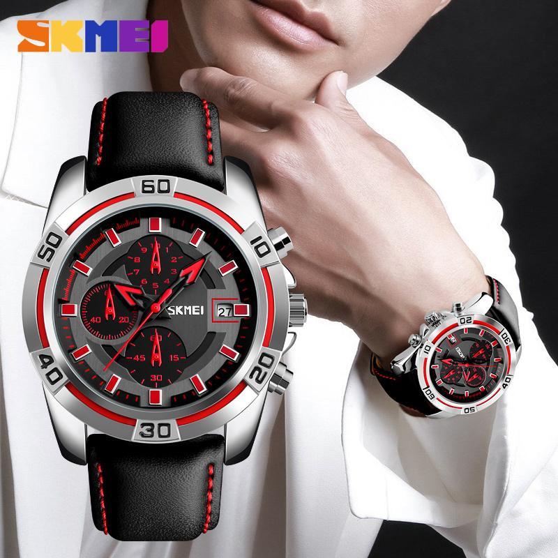 f750ead09439 Compre Skmei Reloj De Moda De Cuero Superior De Los Hombres De Lujo Militar  Relojes De Pulsera De Cuarzo Relojes Deportivos Al Aire Libre Relogio  Masculino ...