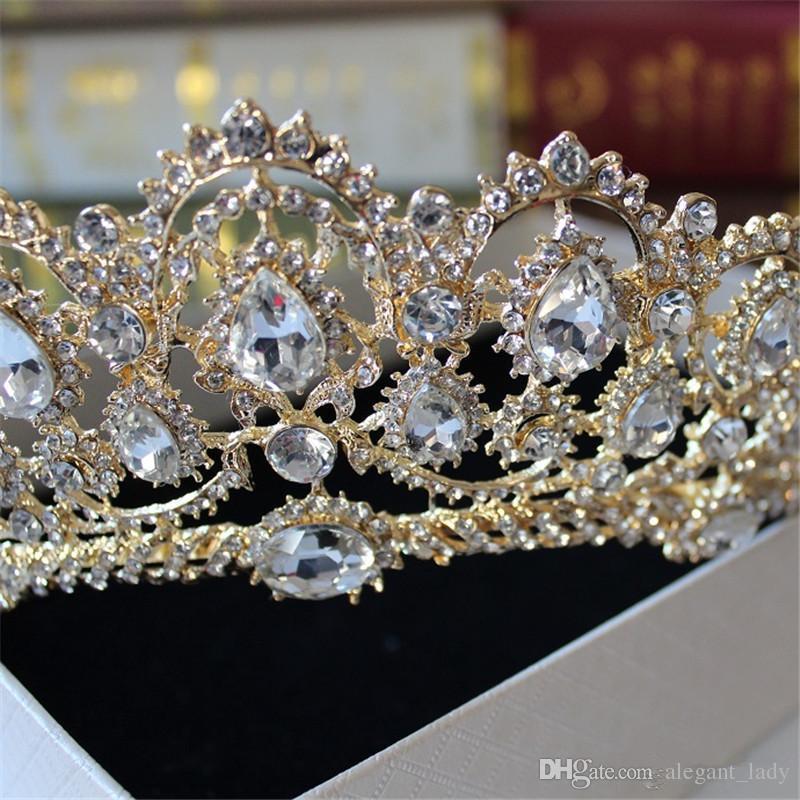 Cristal barroco Corona 2018 Goddata griega Arte ACCESORIOS DE PELO Retro Joyería de novia Joyería de novia Estudio Tiara Moldura de corona