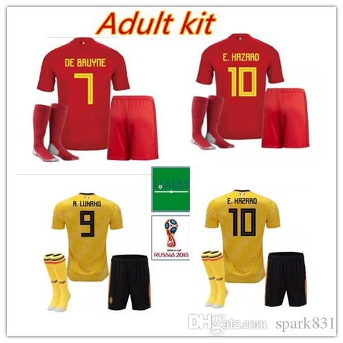 7d85dad6069 2018 Belgium Adult Kit +socks Home Away Soccer Jersey 18-19 LUKAKU ...