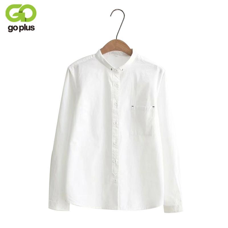 wholesale dealer c6b6c 376a7 GOPLUS 2018 Weiße Bluse Damen Hemd Baumwolle Oberteile Süßigkeiten  Stehkragen Stehkragen Langarm Blusas Femininas C4270