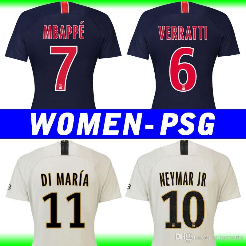 promo code 1ad27 430df Maillots Psg Frauen Fußball Trikots 2019 VERRATTI NEYMAR JR Paris  Saint-Germain Heimtrikot 18 19 MBAPPE WOMEN Fußballshirt Mädchen